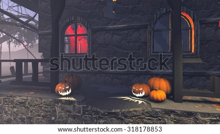 Halloween pumpkins on the porch of gloomy house at misty night. Realistic 3D illustration was done from my own 3D rendering file. - stock photo