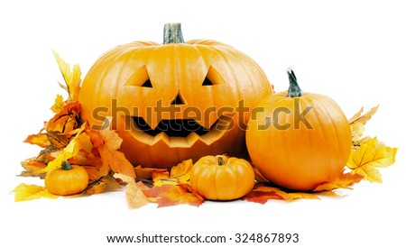 halloween pumpkins with leaves - stock photo
