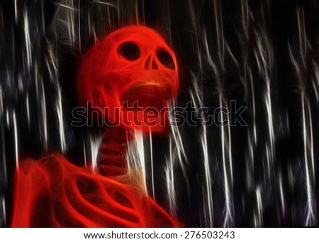 Halloween Red Skeleton - stock photo