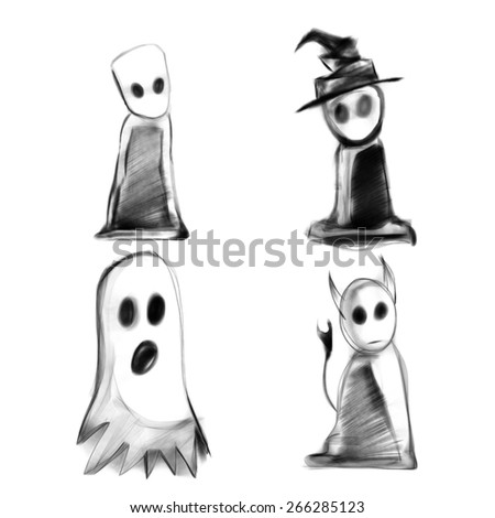 Halloween Scary Pack: Monsters, witch, ghost, devil - stock photo