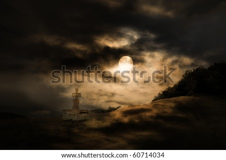 Halloween scenery background with cross, moon and forest in the night - stock photo