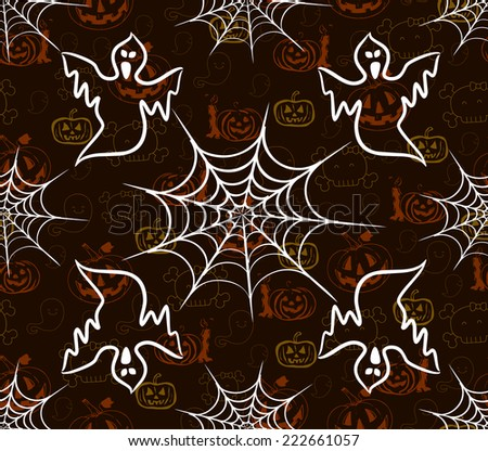 halloween seamless pattern with webs and scarecrow - stock photo