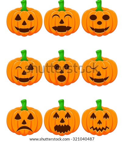 Halloween set with pumpkins - stock photo