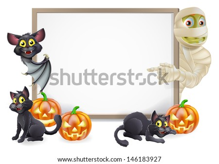 Halloween sign or banner with orange Halloween pumpkins and black witch's cats, witch's broom stick and cartoon mummy and vampire bat characters  - stock photo