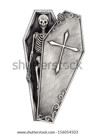 Halloween skull coffin . Hand drawing on paper. - stock photo
