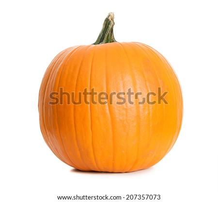 Halloween: Smooth Large Pumpkin On White Background - stock photo