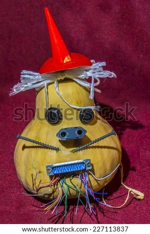 Halloween Techno pumpkin for party night. - stock photo