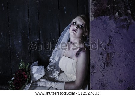 Halloween theme: Horror scene of corpse bride with copy space - stock photo