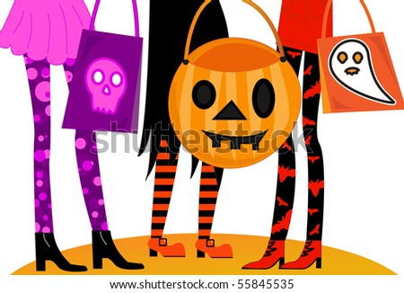 Halloween Trick or Treaters - stock photo