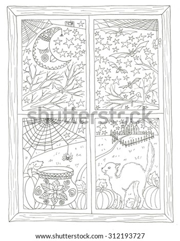 Halloween window view coloring page - stock photo