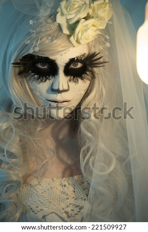 Halloween witch. Beautiful woman wearing santa muerte mask portrait - stock photo