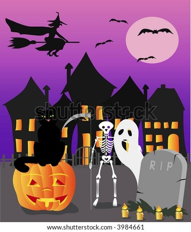 Halloween witch, cat and skeleton with pumpkin - stock photo