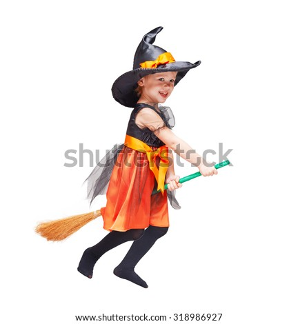 Halloween. Witch child flying Isolated on white background - stock photo