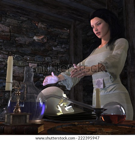 halloween witch in laboratory concept background - stock photo