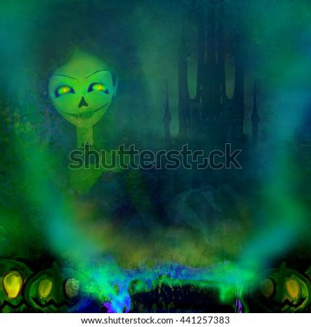 Halloween witch preparing potion  - stock photo