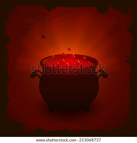 Halloween witches cauldron with red potion on dark background, illustration. - stock photo