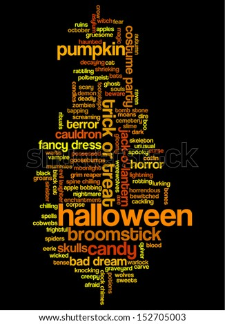 Halloween word cloud illustration on black background with words related to halloween - witch, trick or treat, candy, pumpkin, halloween, knocking and similar - stock photo