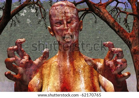 halloween zombie death ghoul 3d concept render - stock photo