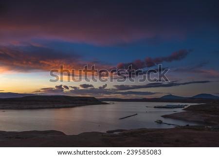 Halls Crossing Lake Powell at Sunset Utah - stock photo