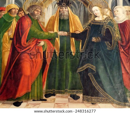 HALLSTATT, AUSTRIA - DECEMBER 13: Engagement of the Virgin Mary, altar in Maria am Berg church on December 13, 2014 in Hallstatt, Austria. - stock photo