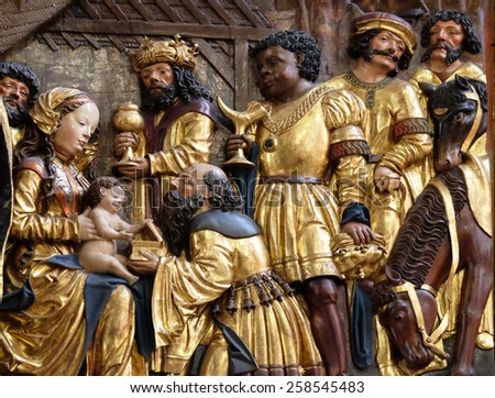 HALLSTATT, AUSTRIA - DECEMBER 13: Nativity scene, adoration of the Magi, Maria am Berg church on December 13, 2014 in Hallstatt, Austria. - stock photo