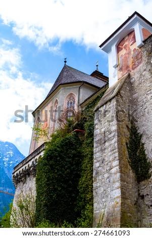 Hallstatt Catholic Parish Church, in Austria - stock photo