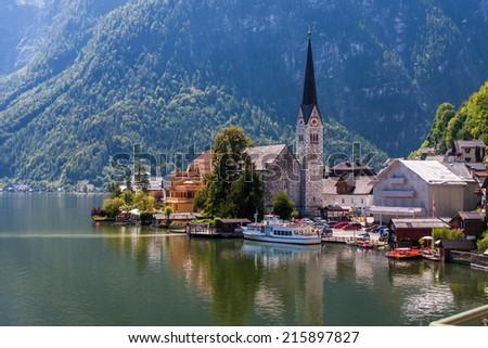 Hallstatt historical city in high mountains Alps Austria - stock photo