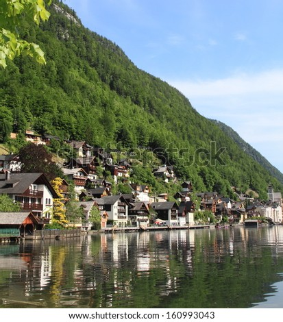 Hallstatt lake and the old town, unesco world heritage in Austria  - stock photo