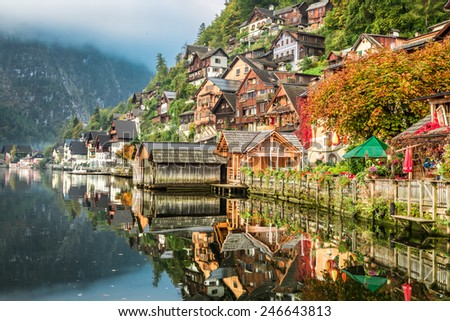 Hallstatt on the lake in autumn - stock photo