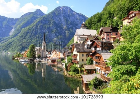 Hallstatt See Lake and old town in Austria, UNESCO World Heritage Site - stock photo
