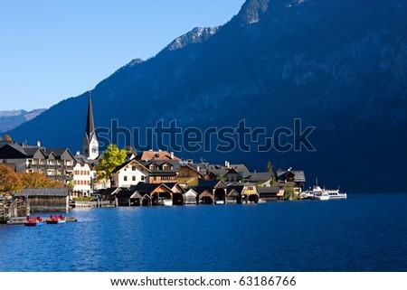 Hallstatt See (lake district) Austria. Hallstatt village is UNESCO World Heritage Site for Cultural Heritage. - stock photo