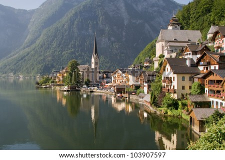 Hallstatt, the most beautiful lake town in the world, Austria. - stock photo