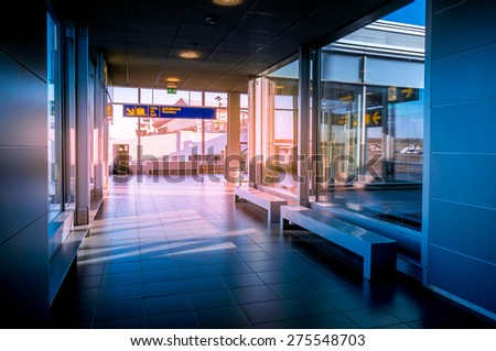 Hallway in Building with glass - flare effect - stock photo