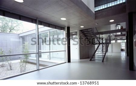 hallway in modern office Building - stock photo