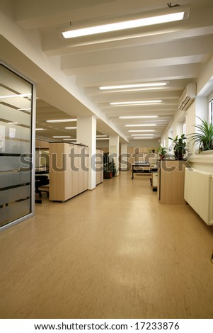 hallway in office building - stock photo