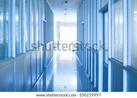 Hallway of computer room.The rooms beside are the operating  room and the equipment room - stock photo