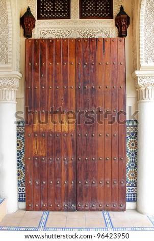 Hallway of Morrocan architecture building at Putrajaya, Malaysia - stock photo