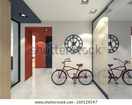 hallway with a bicycle 3d rendering - stock photo