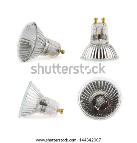 Halogen lamp isolated over white background, set of four foreshortenings - stock photo