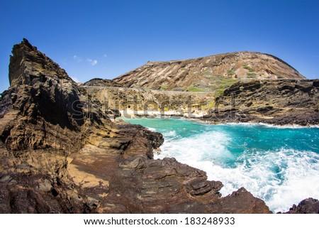Halona Beach Cove near Honolulu on the southeast coast of the Hawaiian island of Oahu - stock photo