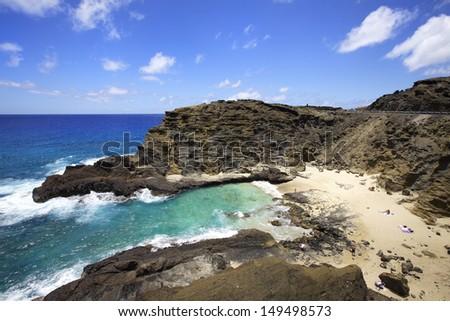 Halona Blow Hole Beach on Oahu, Hawaii - stock photo