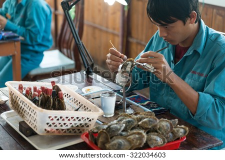 HALONG, VIETNAM - May 9, 2014 -Surgical implantation of an irritant in an oyster shell to produce pearls on a cultured pearl farm - stock photo
