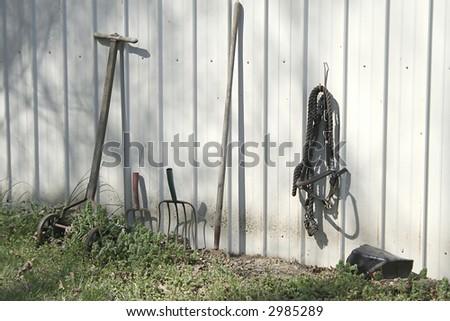 Halter and rakes outside a barn. - stock photo