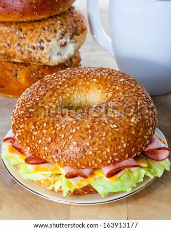 Ham and Cheese Bagel Sandwich Breakfast - stock photo