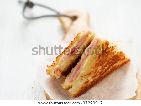 Ham and Cheese French Grilled Toasts - stock photo