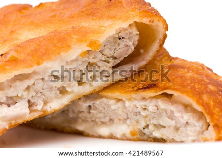 ham and cheese pie on white background - stock photo