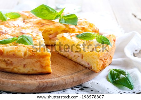 Ham and cheese pie, selective focus - stock photo