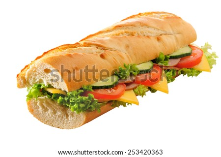 Ham and cheese salad submarine sandwich from fresh baguette. Isolated. - stock photo