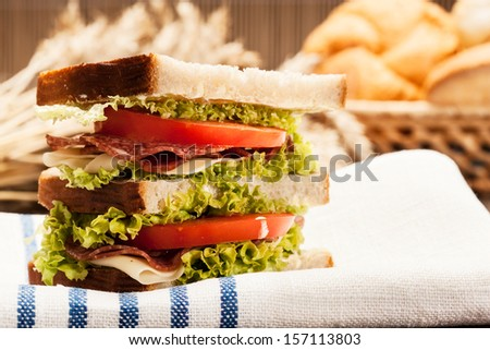 Ham and cheese sandwiches. Selective focus  - stock photo