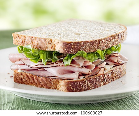 ham sandwich with lettuce and mayo with green in background. - stock photo